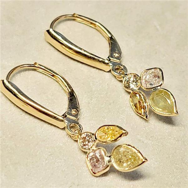 10K Yellow Gold Diamonds( 1.45Ct, I-1, Light Pink, Orange And Green) Diamonds ( 0.1Ct, Si-1, G-H) Ea