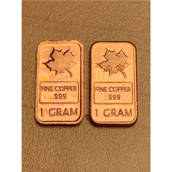 1 Gram .999 Fine Copper Wafer Lot of 2