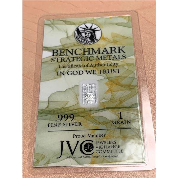 1 Grain of .999 Fine Silver Wafer - Benchmark Strategic Metals