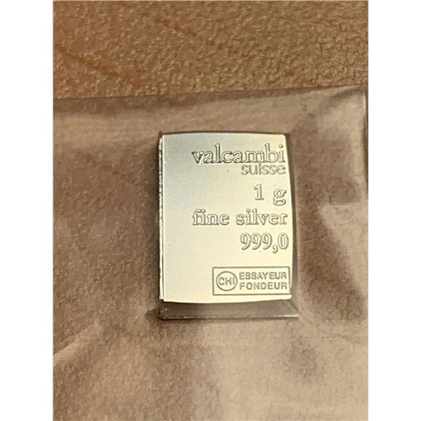 Valcambi Suisse .999 Silver Bar 1 Gram