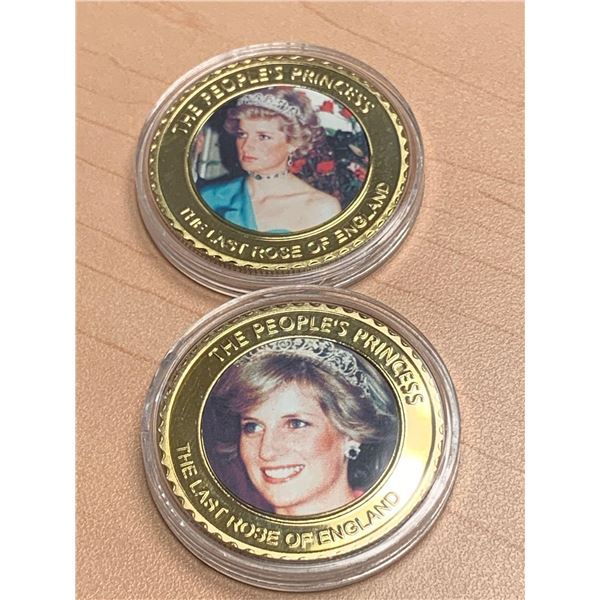 Lady Diana The People's Princess Commemorative Cased Collectors Medallion Lot of 2