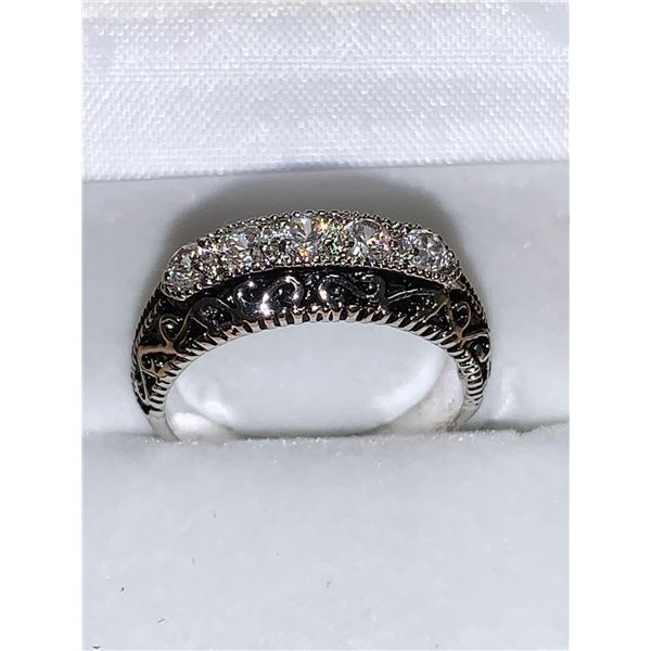 Silver engraved ladies 5 stone anniversary ring
