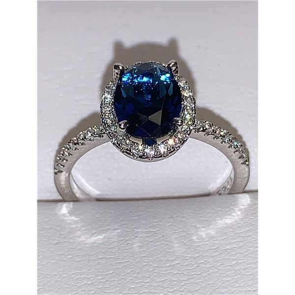 Ladies 14K GP Oval Cut Blue Topaz Gemstone Ring