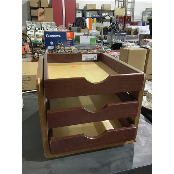 3-Drawer Wooden Tabletop Organizer