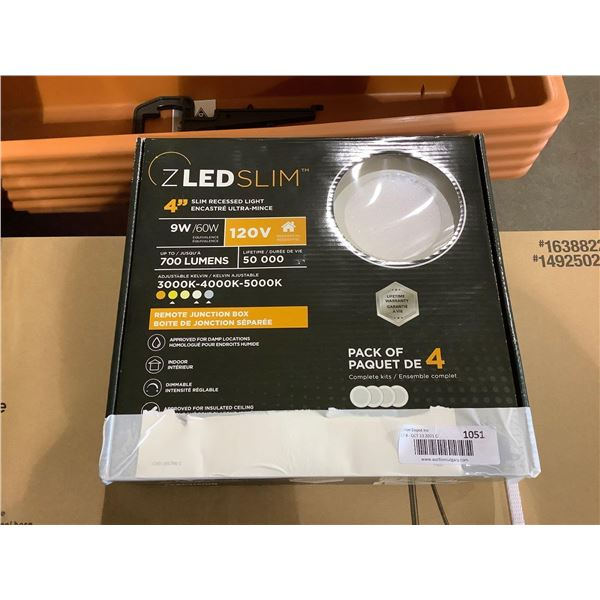 Leadvision4-Pack ZLED Slim Dimmable Adjustable Kelvin 4in Slim Recessed Light with Remote Junction