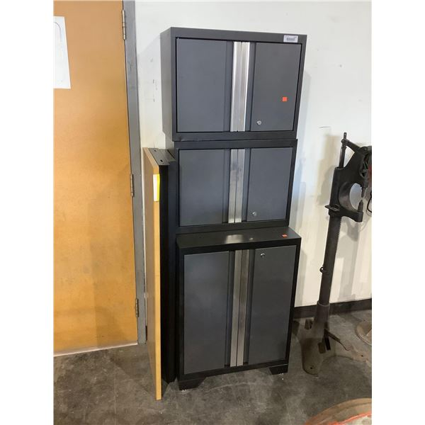 3-Piece Metal Cabinet Set in Grey (28in x 14in x 22in and 28in x 22in x 32in and28in x 22in x 32in)