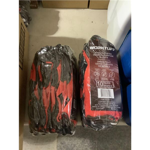 WorkTuff10-Pair Nitrile Coated General Purpose Gloves Lot of 2