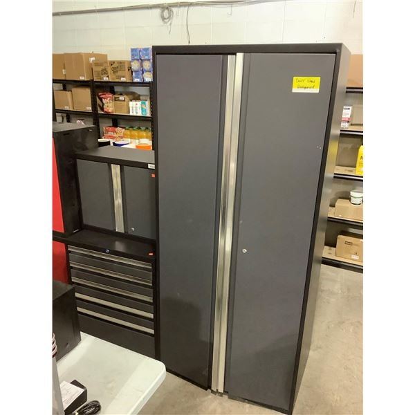 3-Piece Metal Garage Storage Cabinet Set in Grey - Doors Need Realignment (28in x 14in x 22in and 21