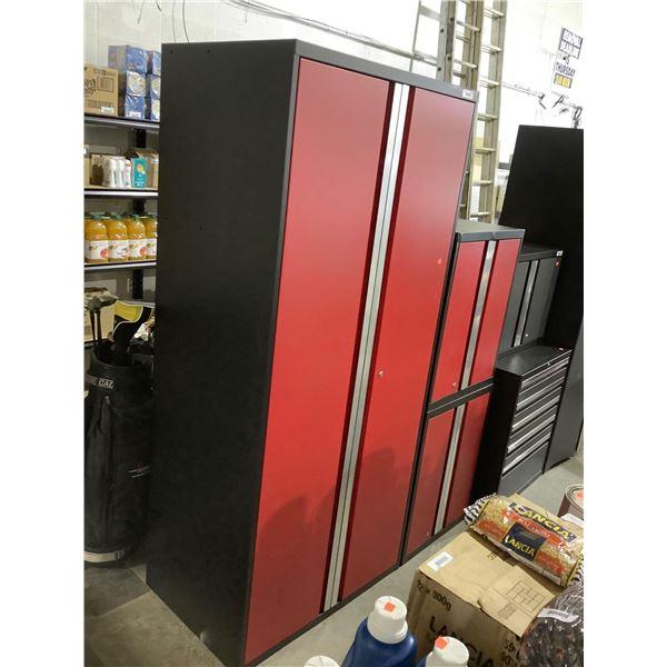 3-Piece Metal Garage Storage Cabinet Set in Red (16in L x 24in W x 30in H and 16in L x 24in W x 30in