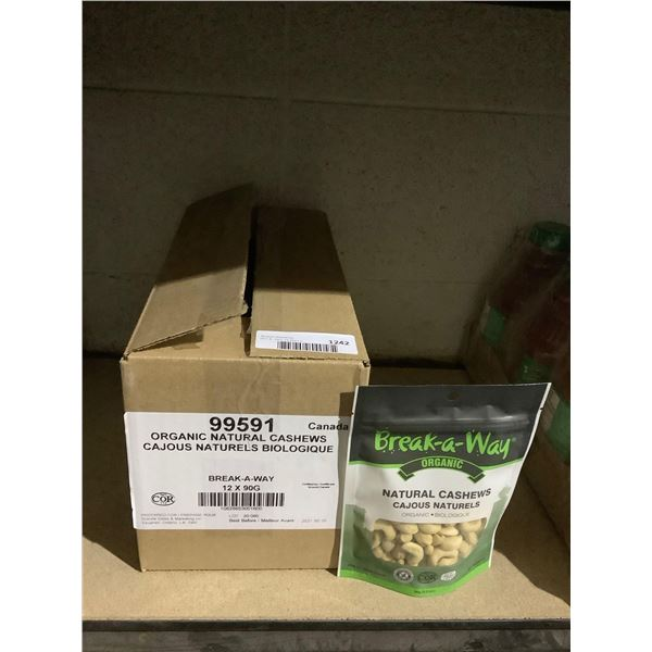 Case of Break-a-way Organic Natural Cashews (12 x 90g)