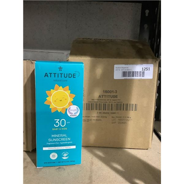 Case of Attitude 30 SPF Baby & Kids Mineral Sunscreen (3 x 150g)