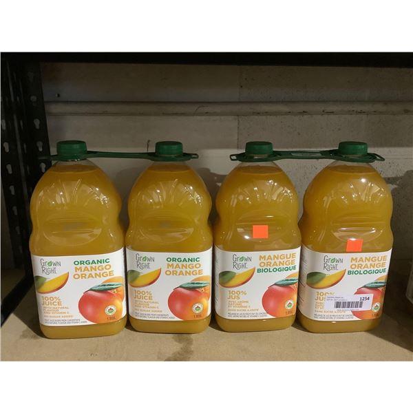 Grown Right Organic Mango Orange Juice (4 x 1.89L)