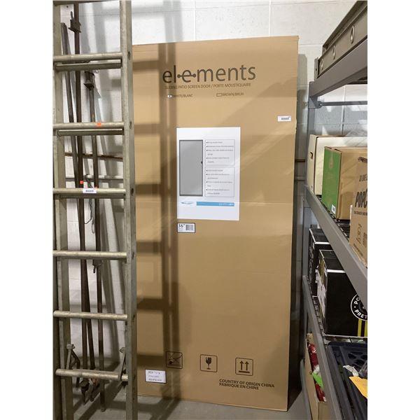 Elements 36in White Sliding Patio Screen Door (Adjustable Height Fits 77 1/8in - 80 2/5in)