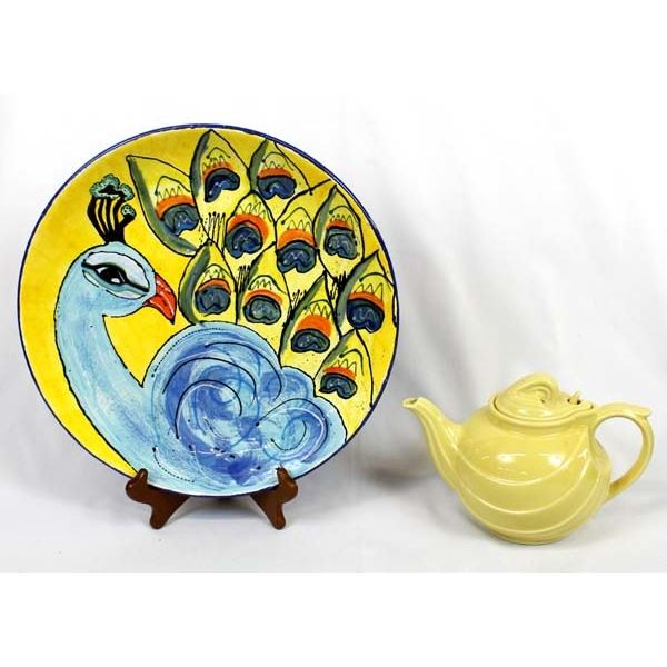 Hall Teapot and Glazed Peacock Plate