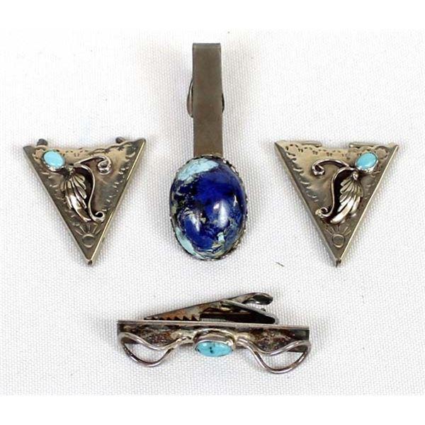 Navajo Turquoise Collar Tips & Tie Clasps