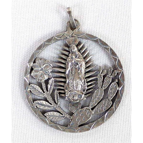 1953 Hidalgo Silver 5 Pesos Coin Madonna Pendant