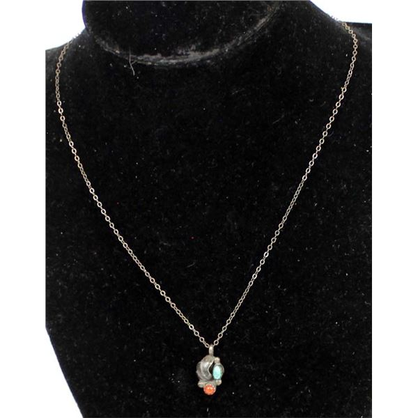 Vintage Navajo Sterling Turquoise Coral Necklace