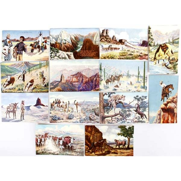 """13 Vintage L.H. """"Dude"""" Larsen Southwestern Post Cards ca. 1930s-1950s"""