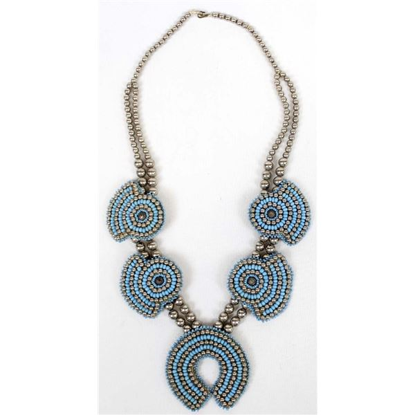 Native American Beaded Squash Blossom Necklace