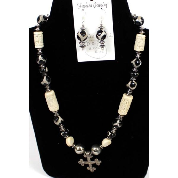 Quail Ridge Studios Dzi Bead & Sterling Cross Pendant Necklace by Larry McLellan