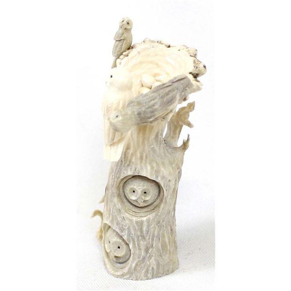 Zuni Antler Owl Family Fetish by Ruben Najera