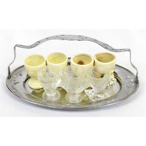 Vintage Egg Cups on Tray