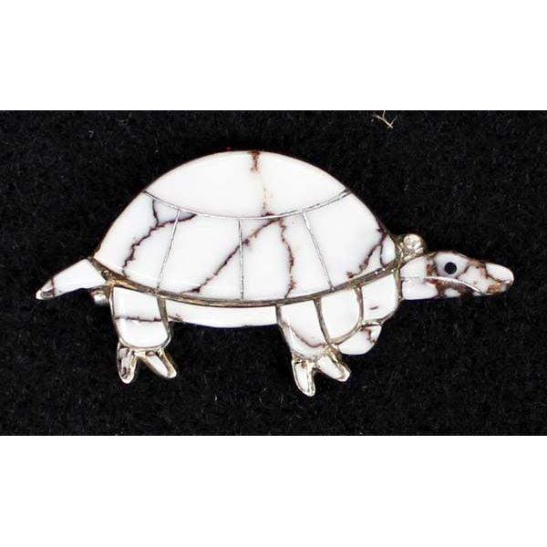 Navajo Sterling Buffalo Turquoise Turtle Pendant