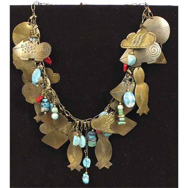 African Bead & Brass Charm Necklace by Larry McLellan