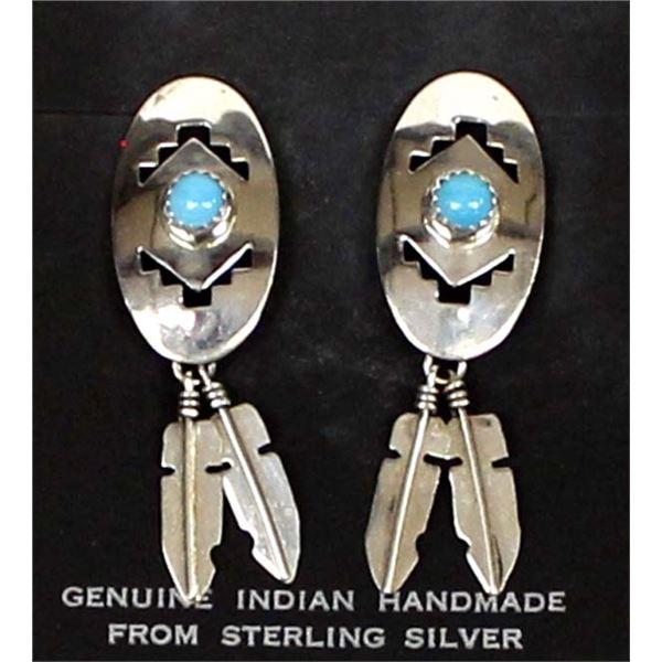 Navajo Sterling Turquoise Dangle Earrings