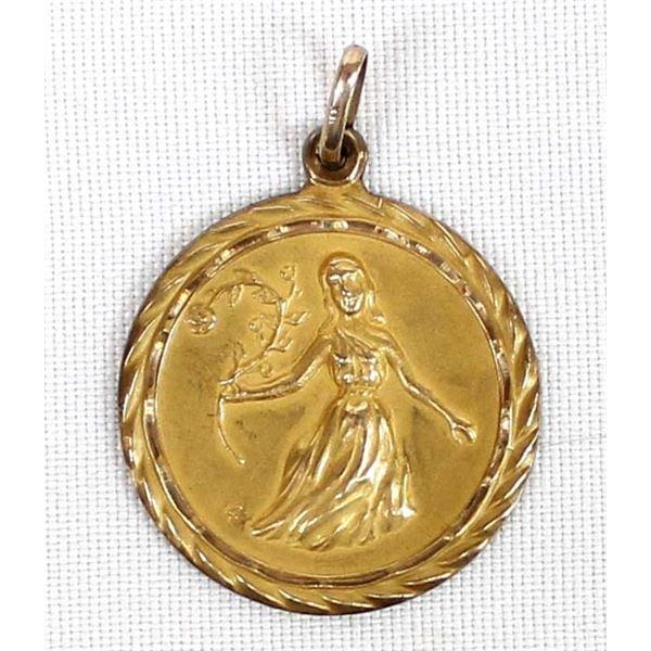 14K Yellow Gold Zodiac Pendant