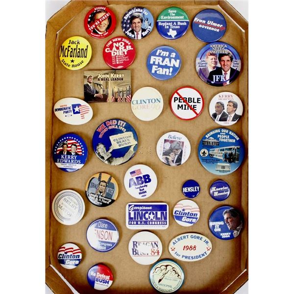 Collection of 30 Plus Political Buttons