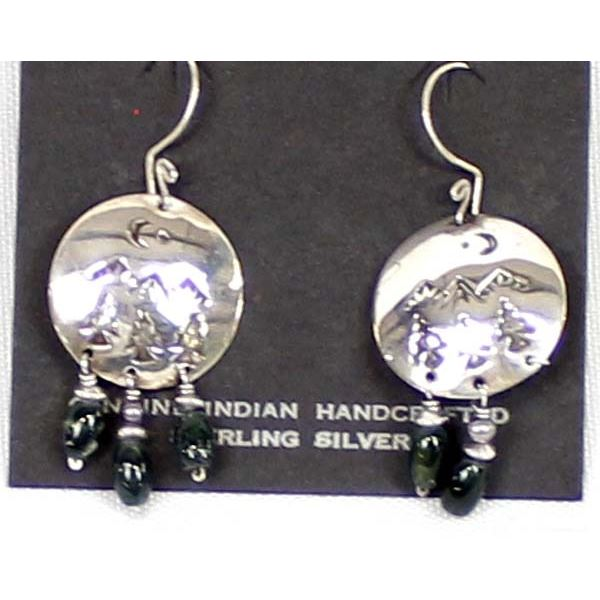 Navajo Sterling & Bead Dangle Earrings