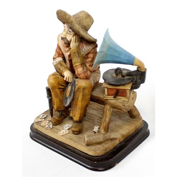 Cast Resin Cowboy Listening to Phonograph Statue