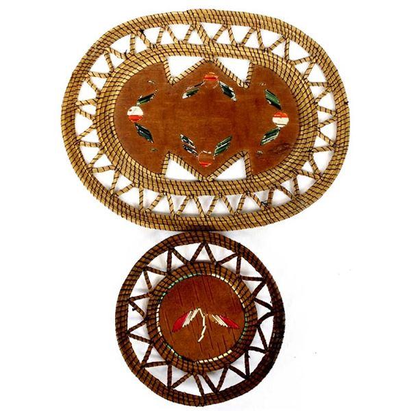 2 Vintage Anishinaabe Quilled Baskets