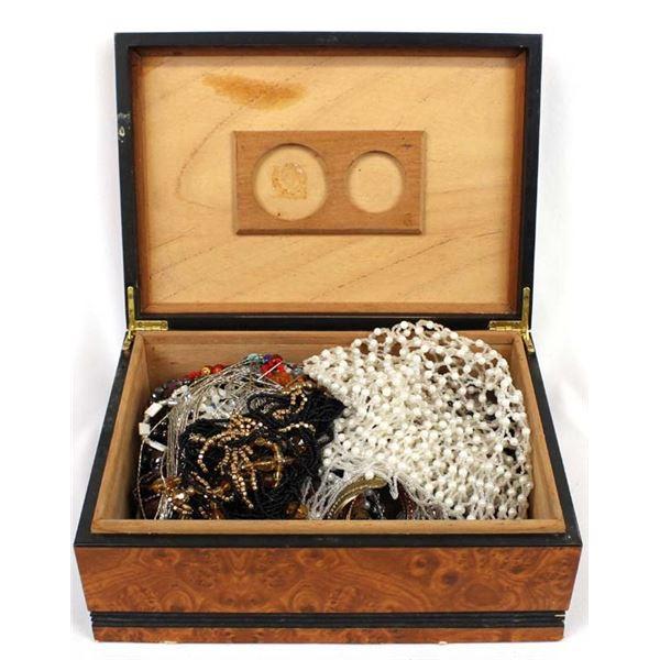 Wooden Jewelry Box Full of Misc. Jewelry