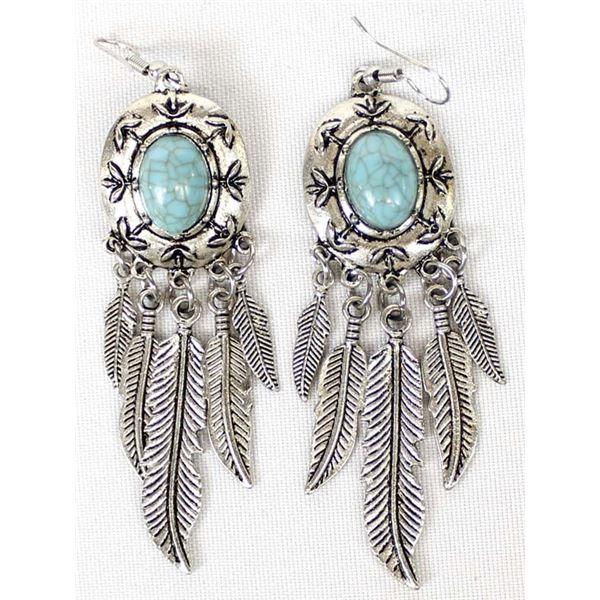 Southwestern Feather Dangle Earrings