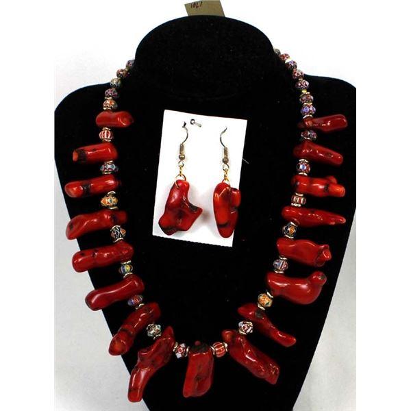 Quail Ridge Studios Red Branch Coral & Cloisonne' Bead Necklace by Larry McLellan