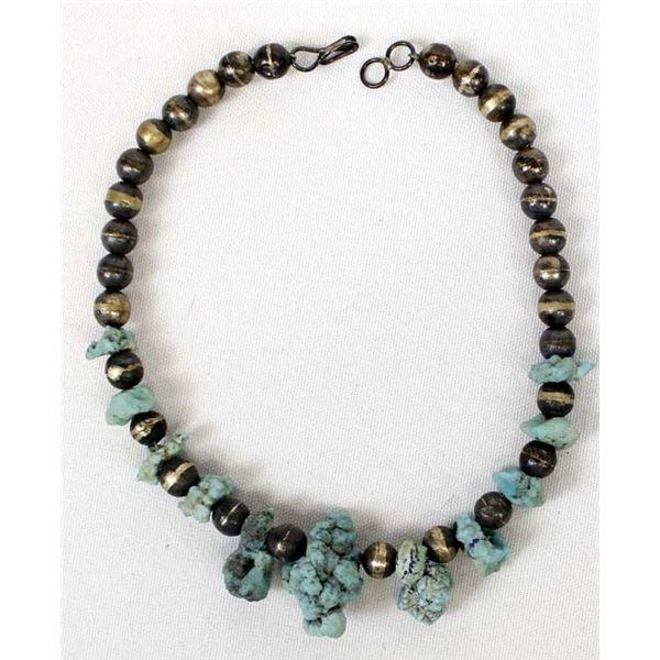 Vintage Navajo Sea Foam Turquoise Nugget Necklace