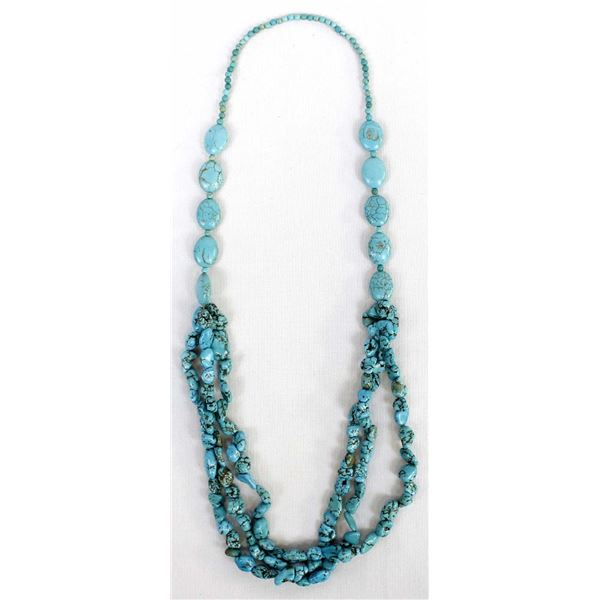 3 Strand Turquoise Nugget Necklace
