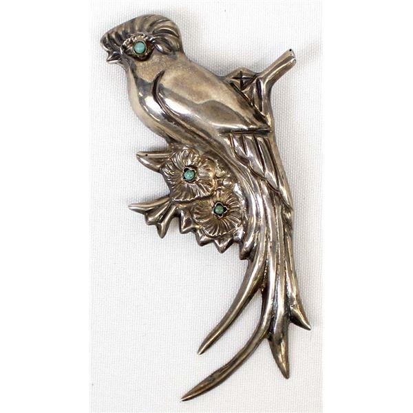 Mexican Silver Quetzal Bird Brooch