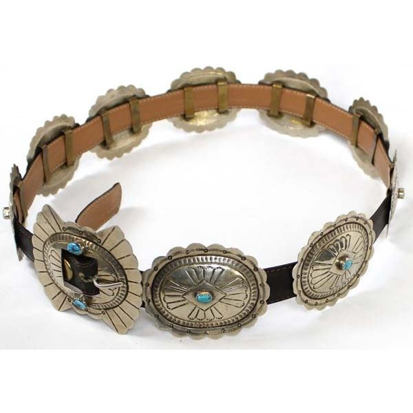 Navajo Nickel Silver & Turquoise Concho Belt