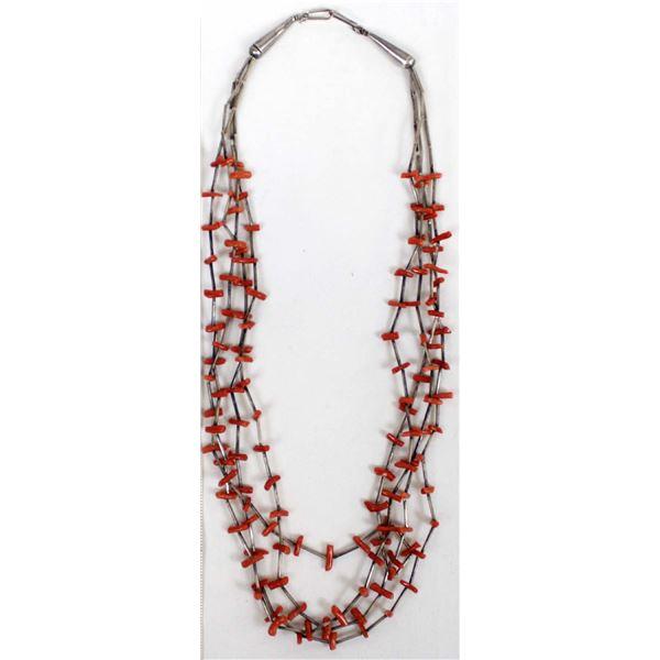 Navajo 4 Strand Liquid Silver & Coral Necklace