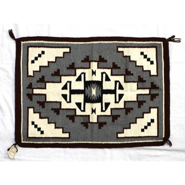 Navajo Two Grey Hills Wool Textile Rug, A Burton