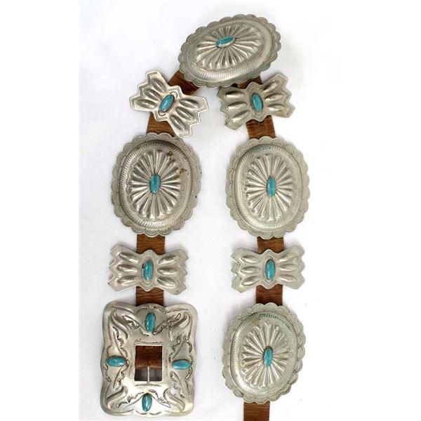 Navajo Nickel Silver Concho Belt