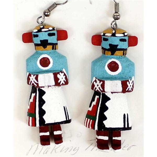 Navajo Making Thunder Kachina Earrings, L Multine