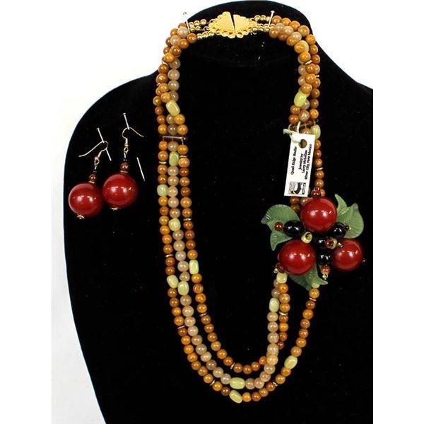 Quail Ridge Studios Offset Cherry Bead Necklace by Larry McLellan