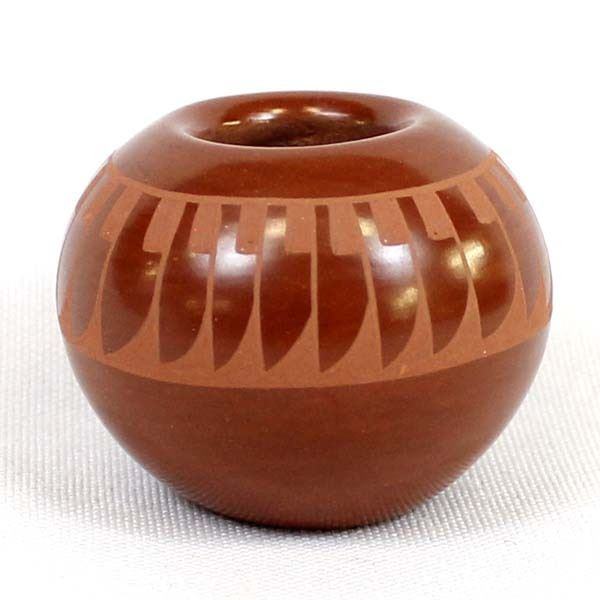 Santa Clara Stylized Feather Pottery Jar, A. Baca