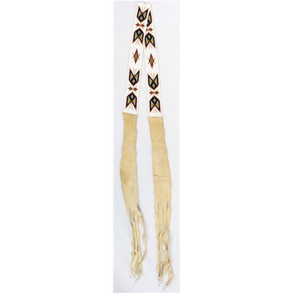 Vintage Native American Beaded Leather Belt