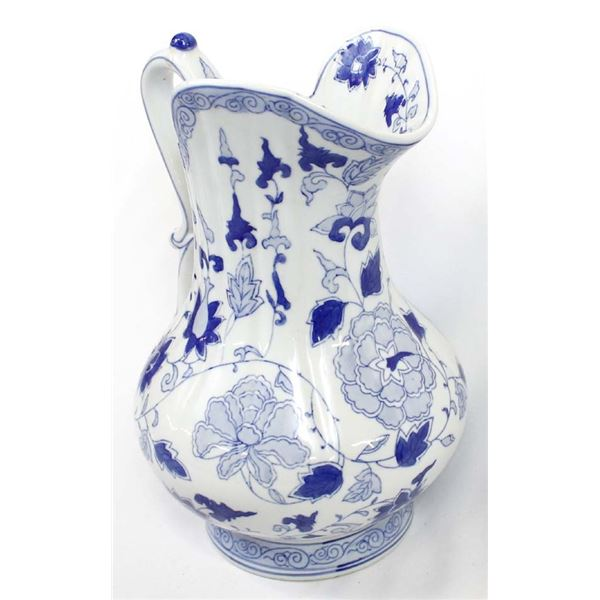 Large Oriental Blue and White Ceramic Pitcher