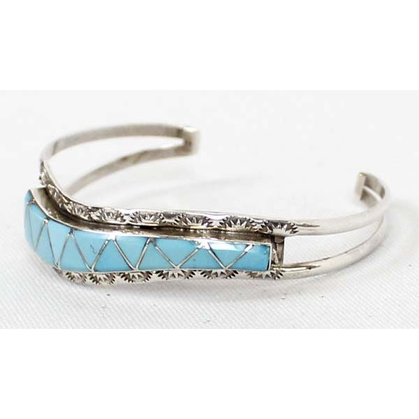 Zuni Sterling Channel Inlay Turquoise Bracelet